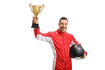 F1 Winner with Trophy