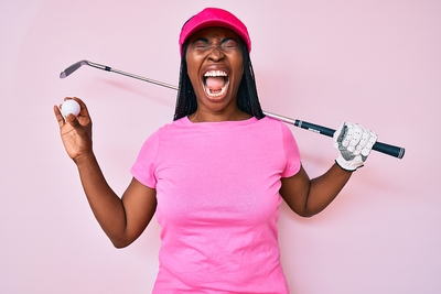 Female Golfer Shouting