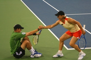 Martina Navratilova Helps Someone Stand