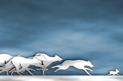 Greyhounds Chasing Rabbit